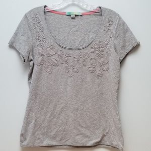 BODEN | GRAY T-SHIRT W/FLORAL APPLIQUE, SZ 12